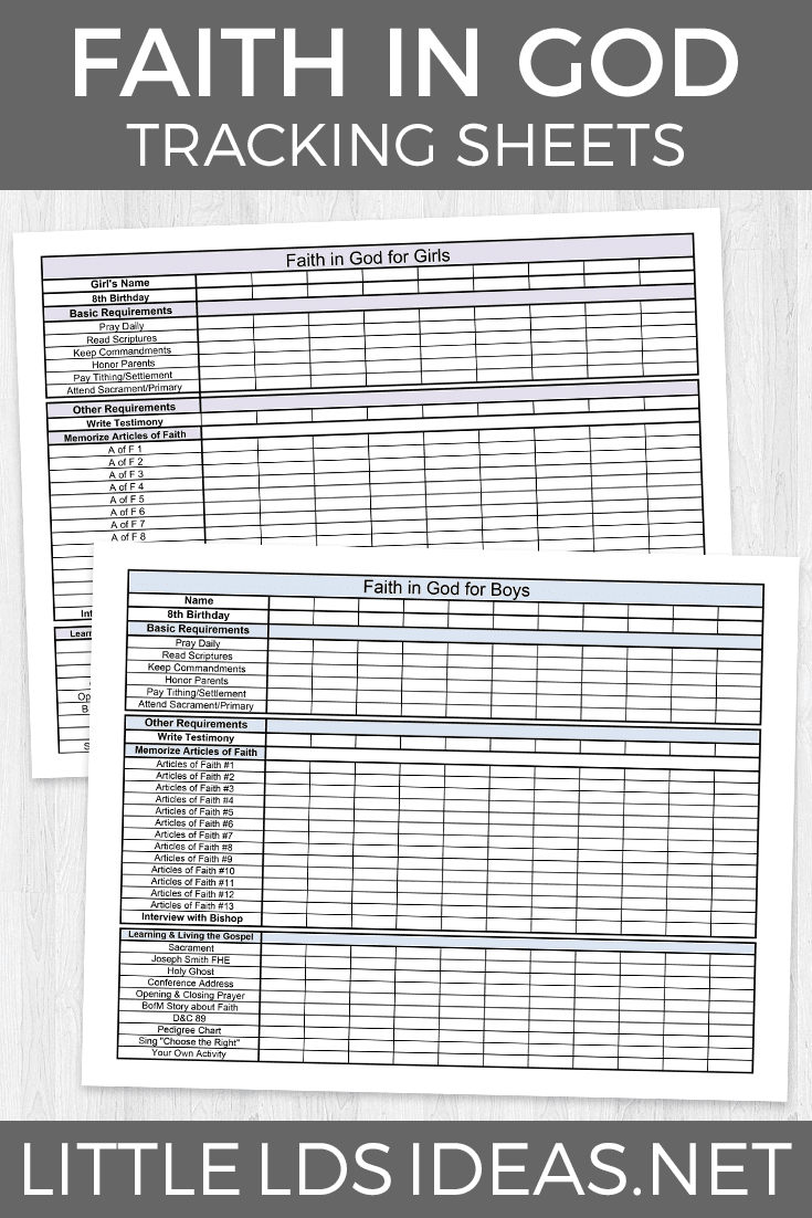 Faith in God Tracking Sheets: From Liberty Vollmer ...