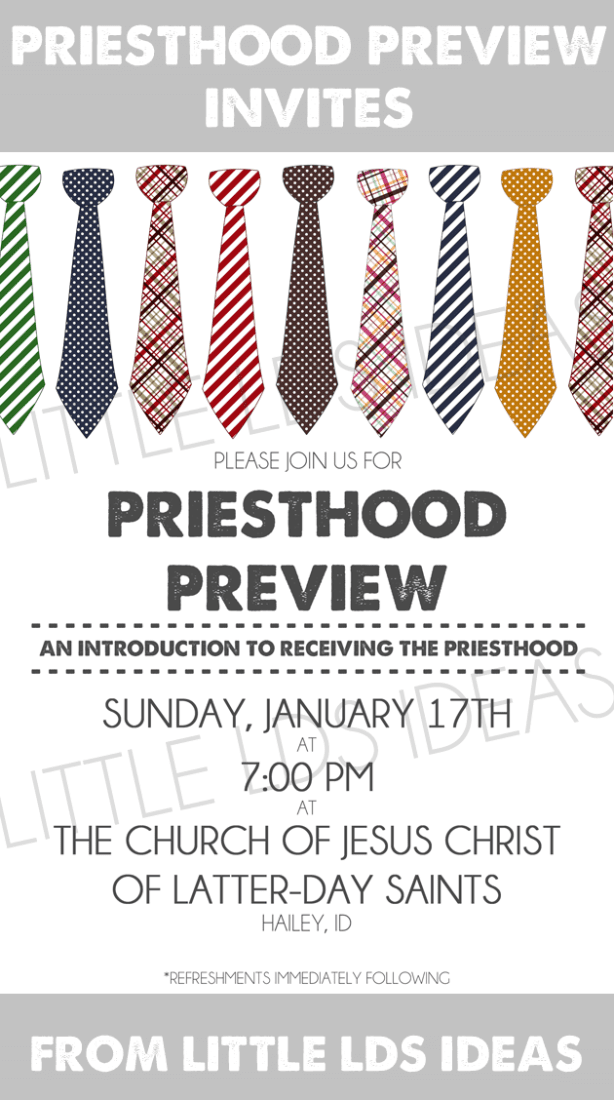 {Primary} Priesthood Preview Invites - Little LDS Ideas