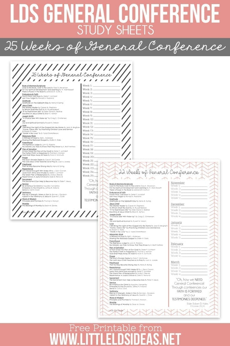 LDS 25 Weeks of General Conference Study Sheets