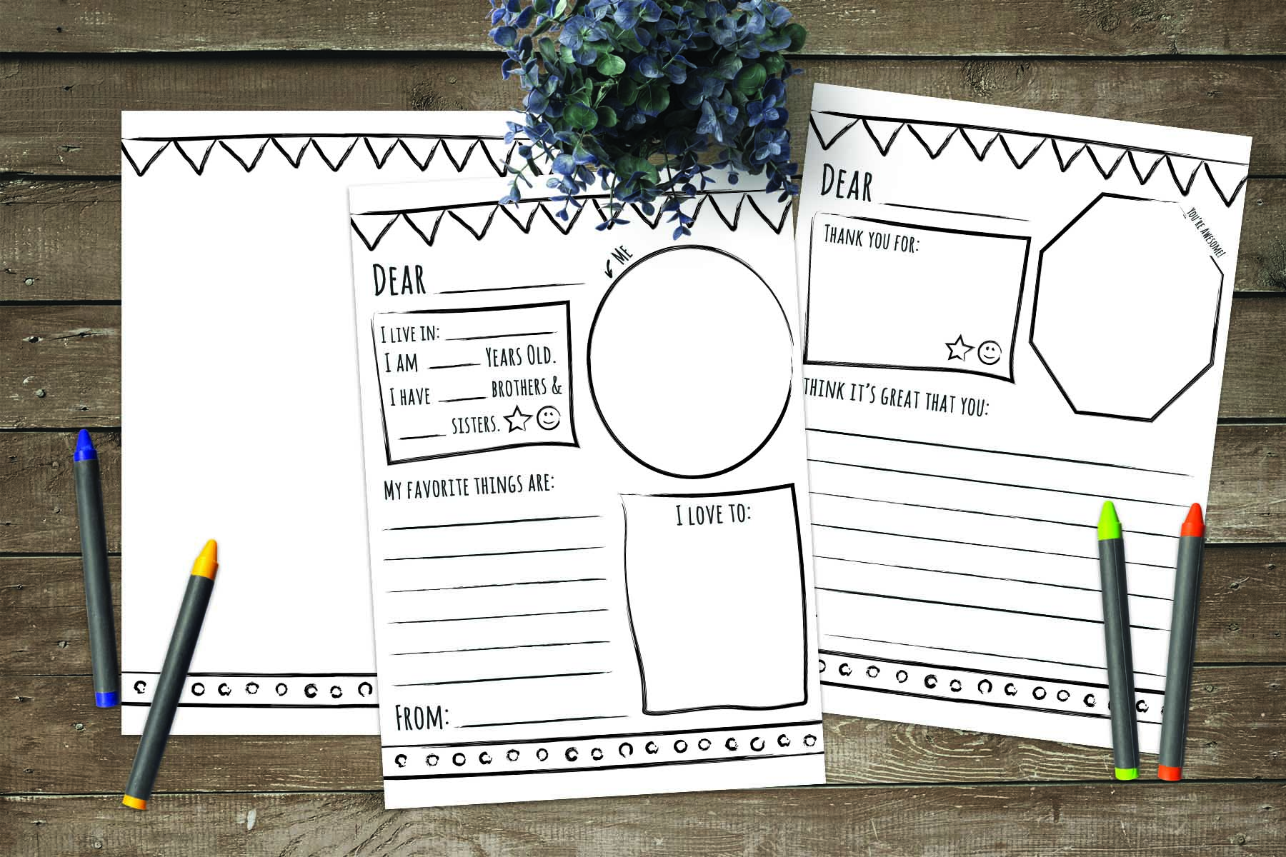 Activity days thank you pen pal stationery printables for Idea door primary printables