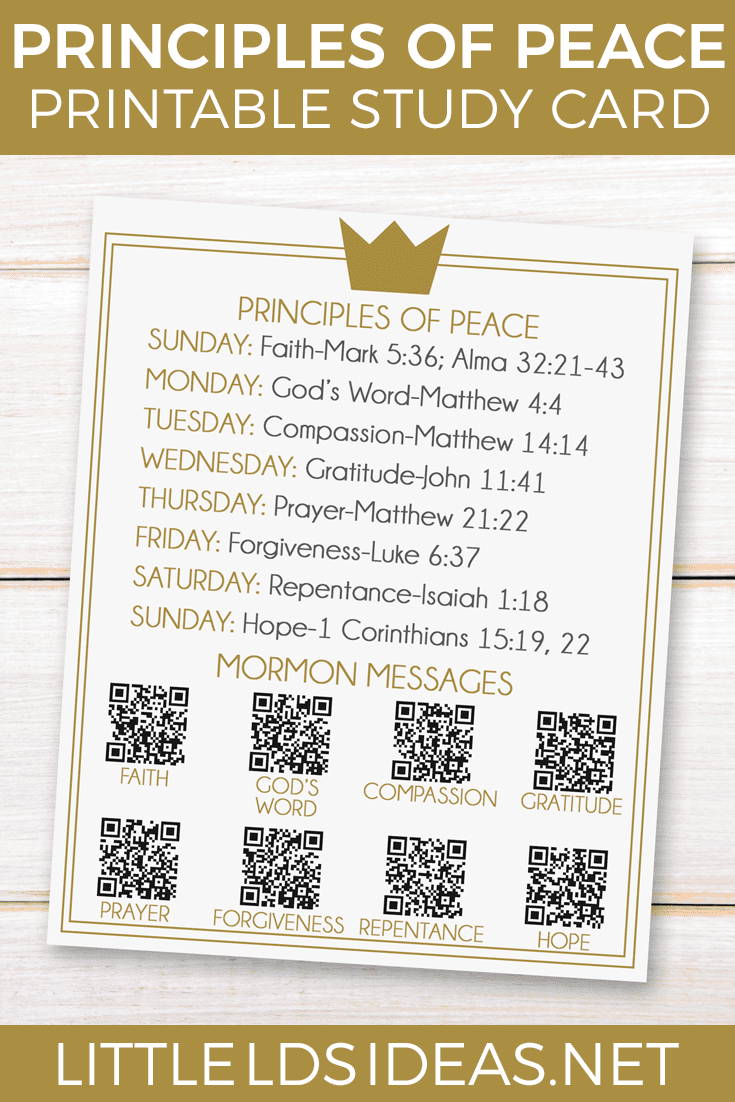 Prince of Peace Study Card: Free printable from Little LDS Ideas