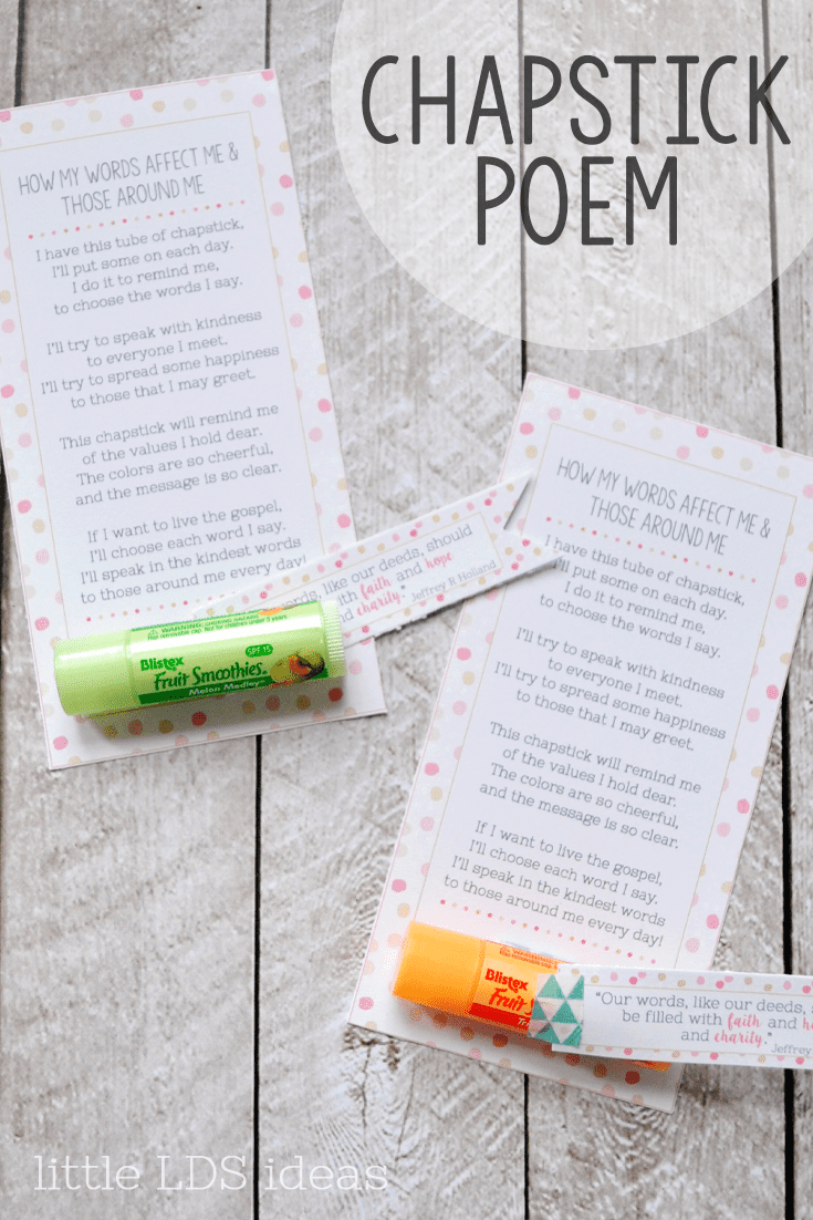 Chapstick Poem Handout: How Do the Things I Say Affect Others