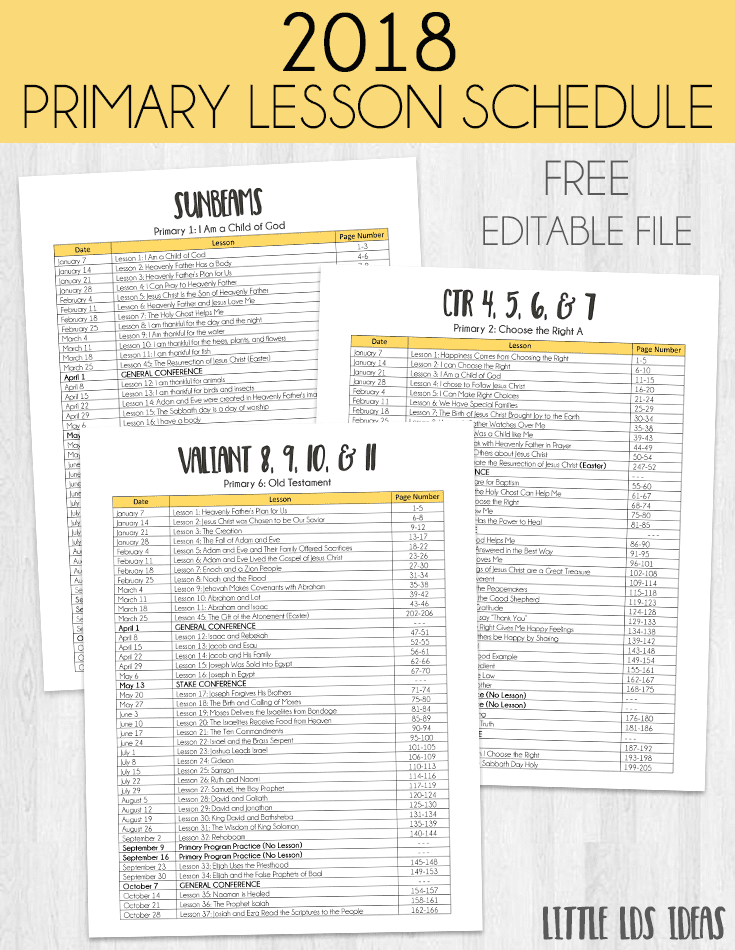 2018 Primary Lesson Schedule Printables from Little LDS Ideas